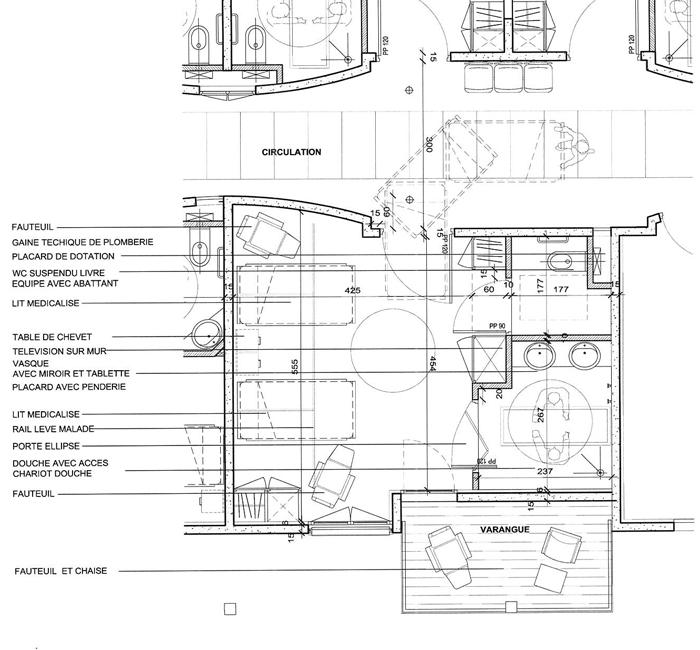 Construction d un centre de g rontologie en guadeloupe - Plan d une chambre ...